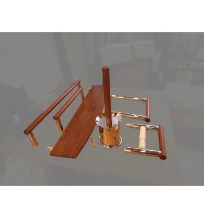 image: Juego accesorios en laton madera bubinga liquidacion