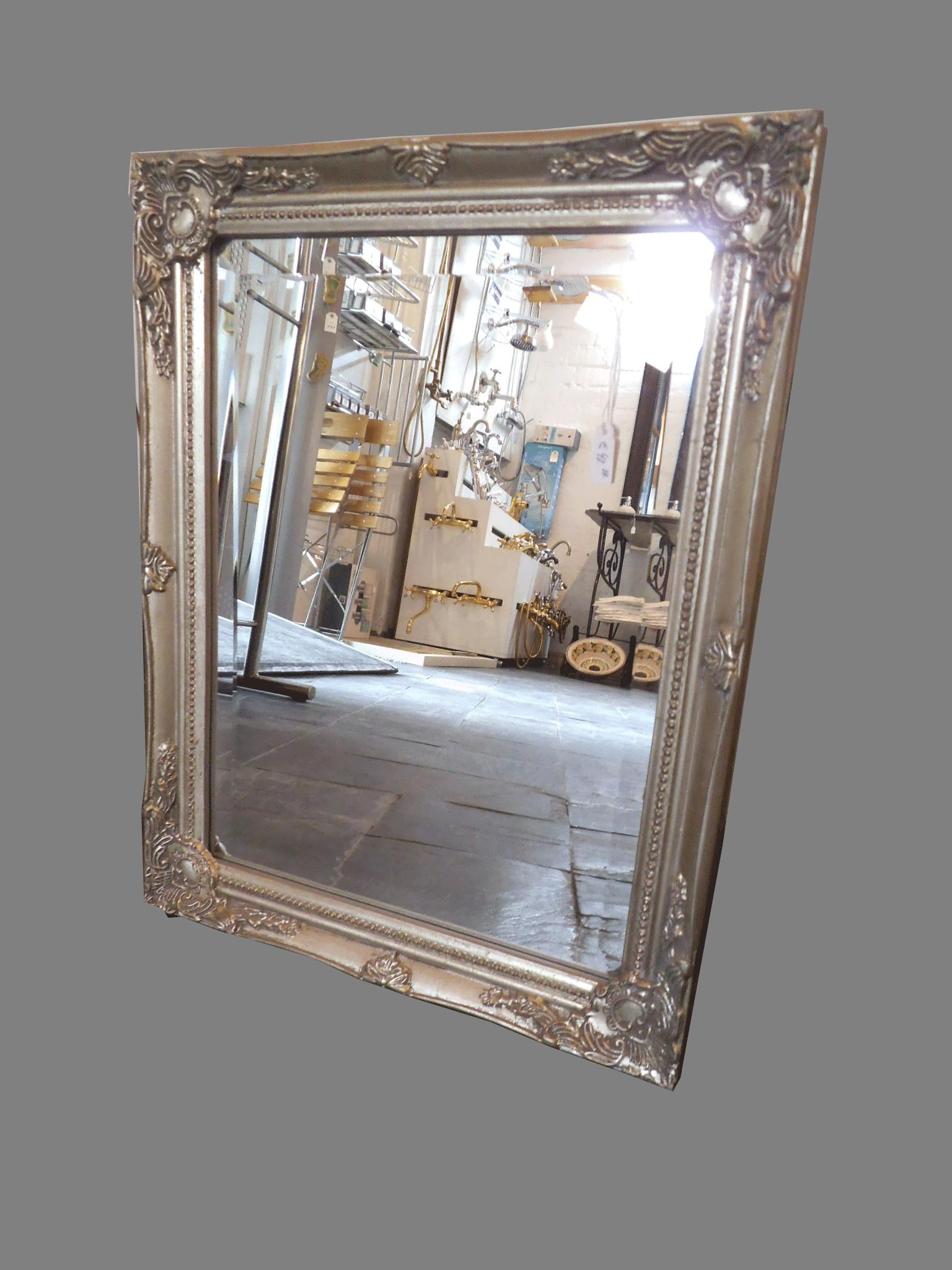 Espejo marco plateado espejo marco de madera with espejo for Espejo rectangular plateado